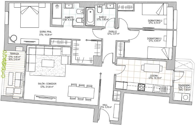 3D dormitorios portal 1 Derecha Opcion B